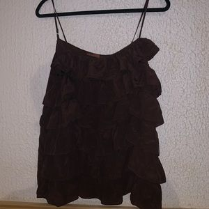 Brown Ruffle Top